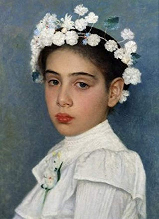 Isidor Kaufmann - Girl with flowers in her hair