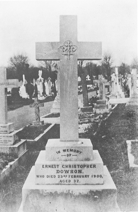 Dowson's grave before it was vandalised